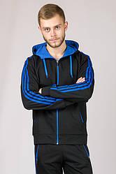 Синий спортивный костюм мужской трикотажный с капюшоном Турция