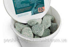 Камни для сауны жадеит шлифованный средний в ведре Хакасия, фото 2