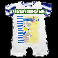 Детский песочник-футболка р. 74 ткань КУЛИР 100% тонкий хлопок 3542 Синий
