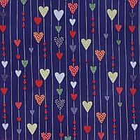 """Ткань для пэчворка и рукоделия американский хлопок """"Сердечки на синем"""", 22*55 см"""