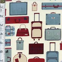"""Ткань для пэчворка и рукоделия американский хлопок """"Travel чемоданы"""" - 23*55 см"""