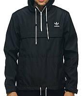 Черный анорак (куртка, ветровка) Adidas (опт и розница)