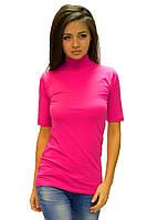 Розовая водолазка (гольф) женская большая горло стойка короткий рукав удлиненная хлопок стрейч (Украина)