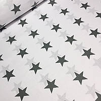 Польская бязь со звездами 4см темно-серого цвета на белом фоне  №567