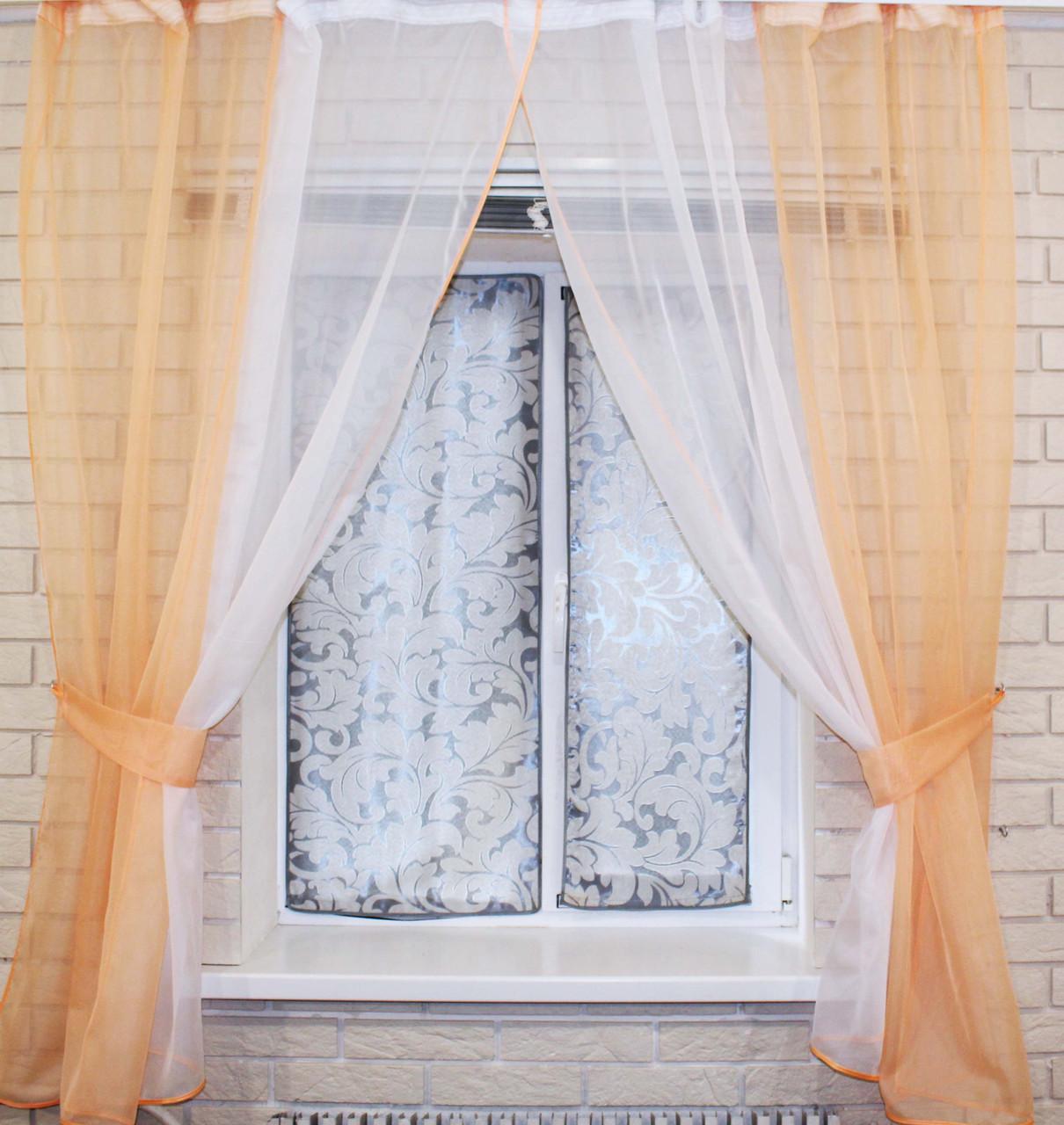 Комплект кухонные шторки с подвязками №17 Цвет персиковый с белым