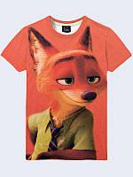 Мужская стильная 3D футболка Лис Ник с изображением героя популярного мультфильма, на лето.