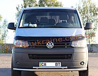 Защита переднего бампера труба двойная из нержавейки на Volkswagen T5 2003-2010