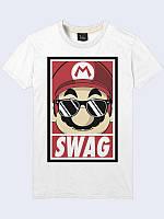 """Трикотажная мужская футболка """"Mario SWAG"""" (Игра Марио) для каждодневной носки для модных и современных."""