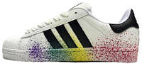 Женские кроссовки Adidas Superstar Rainbow Paint Splatter White