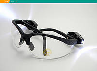 Тактические защитные очки Strelok STR-Flash прозрачные с LED-подсветкой регулируемые заушники