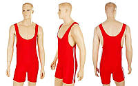 Трико для тяжелой атлетики мужское CO-3534-R красный (бифлекс, р-р S-XL (RUS 44-52))