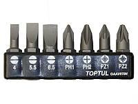 """Набор бит 1/4"""" 7ед. (SL: 4х0.5/5.5х1/6.5х1.2/PH1/PH2/Z1/PZ2) Toptul GAAV0704 (Тайвань)"""
