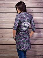 Современная молодежная рубашка-туника с принтом джинс