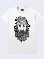 """Трикотажная светлая мужская футболка """"Sailor"""" на лето с круглым горловым вырезом из легкой ткани."""