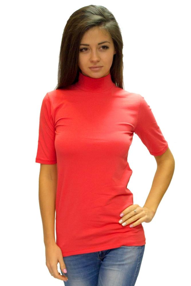 Красная водолазка (гольф) женская большого размера горло стойка короткий рукав хлопок стрейч Украина