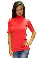Красная водолазка (гольф) женская большого размера горло стойка короткий рукав хлопок стрейч (Украина)