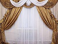 Ламбрекен ручной выкладки+шторы. №69 Код 069лш036