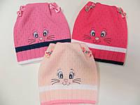 """Демисезонная шапочка """" Кошечка """" для девочки 1 год"""