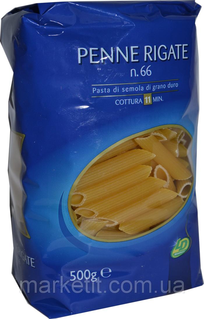Макароны твердых сортов перья LD «Penne Rigate» n.66, 500 гр.