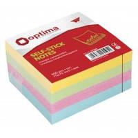 Блок бумаги для заметок Блок бумаги для заметок с клейким слоем 75х75 мм 400 листов пастель микс Optima O25505 (O25505 x 116687)