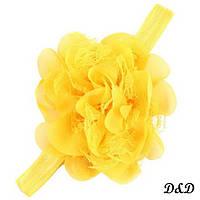 Повязка на голову для девочки, цветок желтый