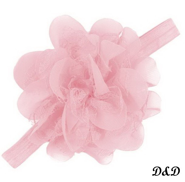 Повязка на голову для девочки, цветок розовый