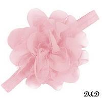 Повязка на голову для девочки, цветок розовый, фото 1