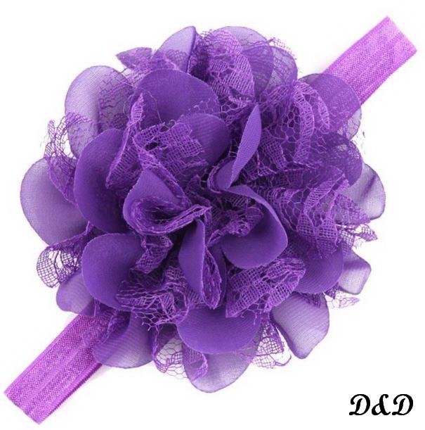 Повязка на голову для девочки, цветок фиолетовый
