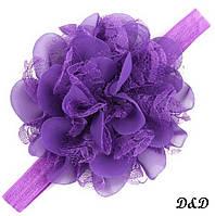 Повязка на голову для девочки, цветок фиолетовый, фото 1