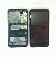 Дисплей (LCD) HTC 616 Desire с сенсором черный + рамка