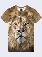 """Мужская футболка """"Мудрый лев"""" с ярким фотопринтом из легкого, дышащего и приятного трикотажа на лето."""