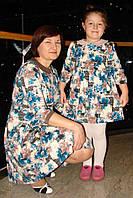 Комплект платьев для мамы и дочки, голубые цветы, фото 1