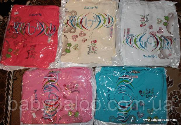 """Подростоковая футболка для девочки манжет """"Мишки камни"""" (от 5 до 8 лет), фото 2"""