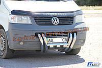 Защита переднего бампера кенгурятник Бараньи рога из нержавейки на Volkswagen T5 2003-2010