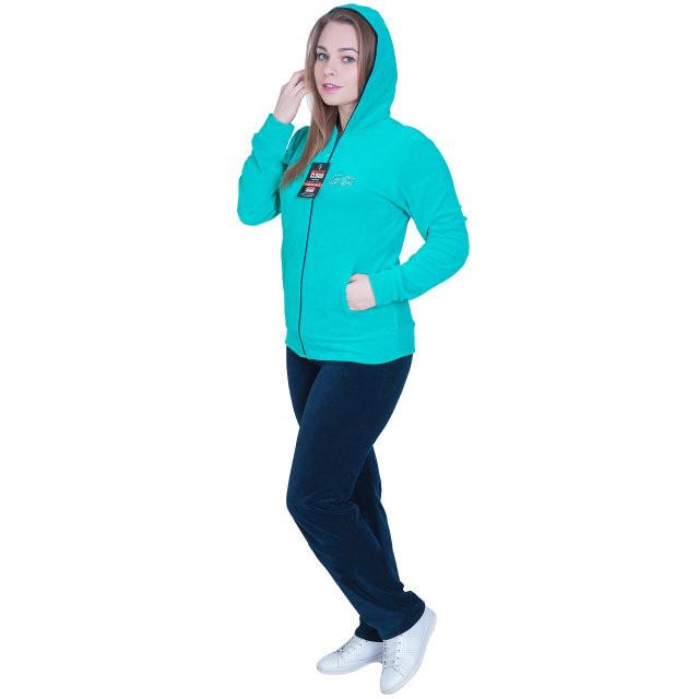 Женский спортивный костюм с капюшоном светло зеленого цвета