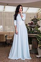 Оригинальное женское платье с ажурным пояском Сильвия 731-5