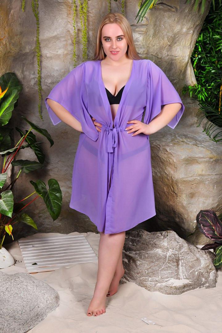 2830cd4bf41 Пляжная шифоновая туника под купальник больших размеров 52-56 - Стильная  женская одежда оптом