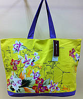 Яркая желтая сумка пляжная из хлопка