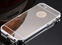 Серебряный чехол для iphone 6/6S алюминий+зеркальный акрил, фото 1