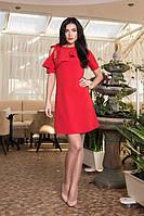 Красивое женское платье Воланчик 7105-6 красное