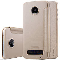 Кожаный чехол-книжка Nillkin Sparkle для Motorola Moto Z Play золотой