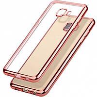 Прозрачный силиконовый чехол с глянцевым ободком для Samsung i9500 Galaxy S4 розовый