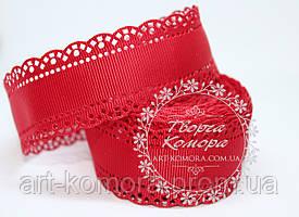 Репсовая лента с ажурным краем, 3 см, красная