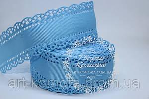 Репсовая лента с ажурным краем, 3 см, голубая