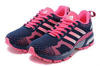 Женские кроссовки Adidas Marathon Navy Pink спортивные Адидас Марафон синие