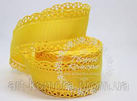 Репсовая лента с ажурным краем, 3 см, желтая