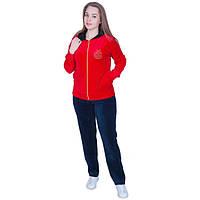 Женский спортивный костюм с капюшоном материал велюр цвет красный