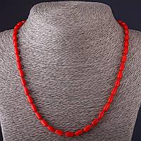 Бусы красный Коралл  овал   5*8мм, длина 52,5см