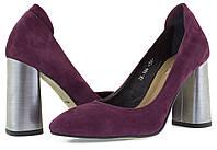 Женские бордовые туфли на широком металлизированном каблуке. Натуральная замша.