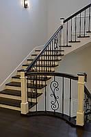 Лестница по бетону поворотная из дерева для дома, фото 1